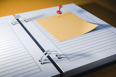 3d note book with blank sticky note Royalty Free Stock Photo