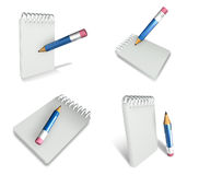 3d note book and pencil range four set Royalty Free Stock Image