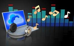 3d note l'ordinateur portable et les écouteurs Images stock