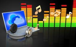3d note l'ordinateur portable et les écouteurs Image libre de droits