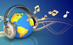 3d note le monde dans des écouteurs Photos libres de droits