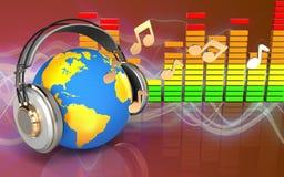 3d note le monde dans des écouteurs Images libres de droits