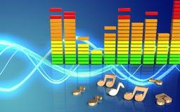 3d note le spectre audio Photos libres de droits