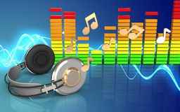 3d note le spectre audio Image stock