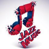 3d note musicale rouge divisée en morceaux, effet d'explosion Illustration Libre de Droits