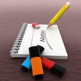 3d notebook  with pencil and eraser and NOTES text written on it concept Royalty Free Stock Images