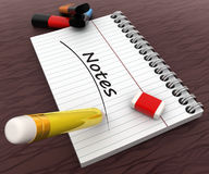 3d notebook  with pencil and eraser and NOTES text written on it concept Royalty Free Stock Image