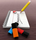 3d notebook  with pencil and eraser and REMINDER text written on it concept Royalty Free Stock Image