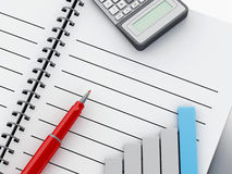 3d Notepad with bar graph and office calculator. 3d renderer illustration. Blank spiral Notepad with pen, office calculator and bar graph. Business finance Stock Photos