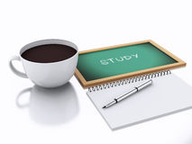 3d notepad and cup of coffee. study concept on white background Royalty Free Stock Image