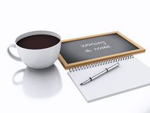 3d notepad and cup of coffee. working at home concept on white b. 3d renderer illustration. notepad and cup of coffee. working at home concept  on white Stock Photos