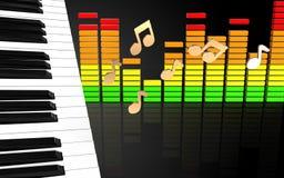 3d noterar pianotangenter Arkivbilder