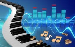 3d noterar pianotangenter Fotografering för Bildbyråer