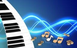 3d notes piano keyboard Royalty Free Stock Image