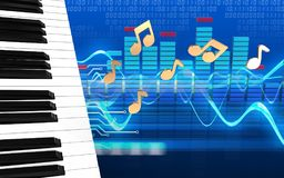 3d notes spectrum. 3d illustration of piano keys over cyber background with notes Royalty Free Stock Image