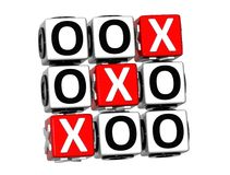 3D Noughts and Crosses Button Click Here Block Text Stock Image