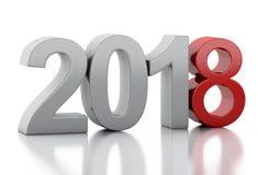3d nouvelle année 2018 illustration de vecteur