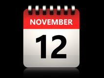 3d 12 november calendar. 3d illustration of 12 november calendar over black background Royalty Free Stock Image