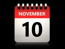 3d 10 november calendar. 3d illustration of 10 november calendar over black background Stock Photography