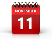 3d 11 november calendar. 3d illustration of november 11 calendar over white background Stock Photo