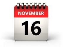 3d 16 november calendar. 3d illustration of 16 november calendar over white background Royalty Free Stock Image