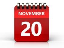 3d 20 november calendar. 3d illustration of november 20 calendar over white background Royalty Free Stock Image
