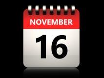3d 16 november calendar. 3d illustration of 16 november calendar over black background Stock Illustration