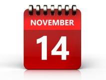 3d 14 november-kalender Royalty-vrije Stock Foto's