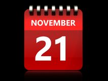 3d 21 november-kalender Stock Afbeeldingen