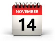 3d 14 november-kalender Stock Foto