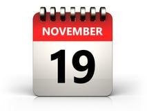 3d 19 november-kalender Royalty-vrije Stock Foto