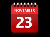 3d 23 november-kalender Stock Foto's