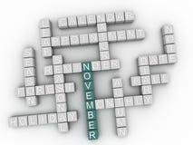 3d November-wolk van het Conceptenwoord Royalty-vrije Stock Afbeelding