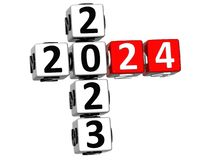 3D nowego roku Szczęśliwy 2024 Crossword na białym tle ilustracji