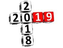 3D nowego roku Szczęśliwy 2019 Crossword na białym tle ilustracji