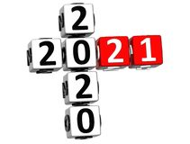 3D nowego roku Szczęśliwy 2021 Crossword na białym tle ilustracja wektor