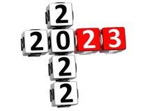 3D nowego roku Szczęśliwy 2023 Crossword na białym tle ilustracji