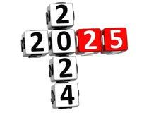 3D nowego roku Szczęśliwy 2025 Crossword na białym tle ilustracji