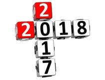 3D nowego roku Szczęśliwy 2018 Crossword na białym tle ilustracji