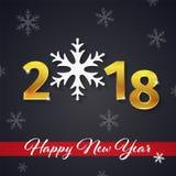 2018 3D nowego roku złoty tekst z czerwonym faborkiem na Bożenarodzeniowym ciemnym tle z płatek śniegu sylwetkami Obraz Stock