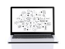 3d Nowożytny laptop z chemii nakreśleniem Fotografia Royalty Free