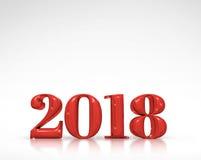2018 3d nowy rok czerwieni liczby rendering na białym pracownianym pokoju Fotografia Stock
