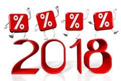 3D 2018 nowy rok ilustracja Zdjęcia Stock