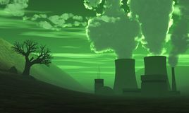 3D nuclear power plant with green air 2 Stock Photography