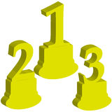 3D number 1,2,3, award on white background. Vector illustration Royalty Free Stock Photos