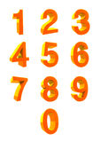 3D NUMBER COLLECTION. Numbers 1,2,3,4,5,6,7,8,9,0. 3D number collection. It is a vector illustration. Orange colors Royalty Free Stock Photo
