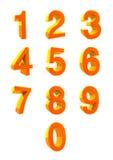 3D NUMBER COLLECTION. Numbers 1,2,3,4,5,6,7,8,9,0. 3D number collection. It is a vector illustration. Orange colors Royalty Free Illustration