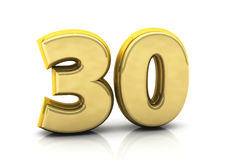 3d number thirty Royalty Free Stock Images