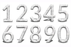 3d Number from 0 to 9 in stone background. royalty free stock photos