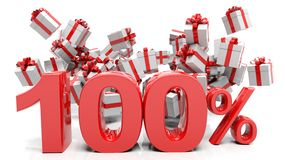 100% 3D numbers with bunch of gift boxes. Isolated on white background Royalty Free Stock Images